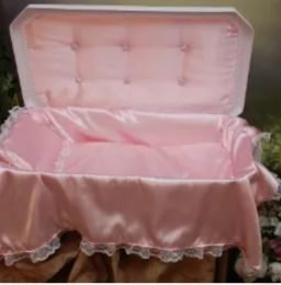 Deluxe Small White Pet Casket With Pink Interior 18 Inches
