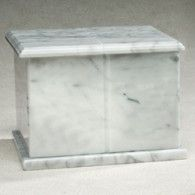 Rectangle Evermore White Marble Rectangle Cremation Urn 420 Cubic Inches