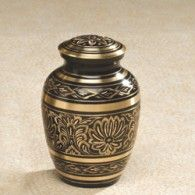 Gee Motif Finished Brass Small Urn  43 cubic Inches