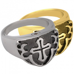 Men's Cross Ring Black Cremation Jewelry