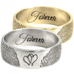 Jewelry Band Ring With & Prints & Hearts