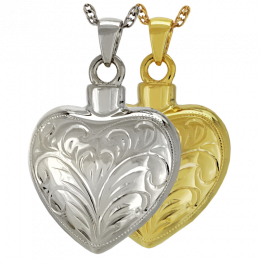 Etched Heart Keepsake Urn Gold-Plated