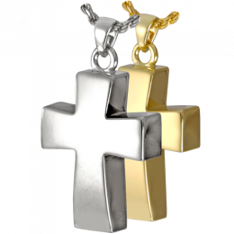 Vaulted Cross Keepsake Urn Sterling Silver & Gold-Plated