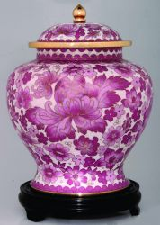 Adult 220.00 cu. in. Pink Flower Cloisonne Cremation Urn