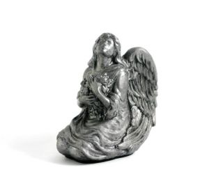 Pewter Colored Resin Angel Keepsake 10 Cu. In.