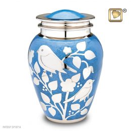 Silver Blessings Birds Adult Cremation Urn 225 cu.in.