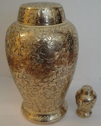 Brass Floral Design Pleasant Solace Urn Set 200 & 6 Cu. In