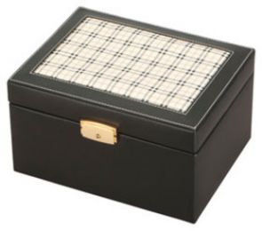 Black Plaid Leather  Memory Chest/Urn 210 Cu In