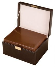 Chocolate Leather Memory Box/Urn 210 Cu In