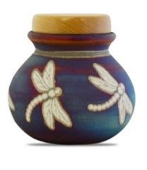 Dragonfly Raku Ceramic keepsake 30 Cu In