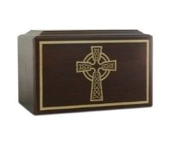 Solid Ash Celtic Cross Wood Urn 200 Cubic Inch