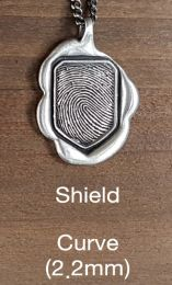 Sterling Silver Curve Shield Finger Print Jewelry