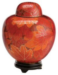 Fall Leaf Companion Cloisonne Cremation Urn