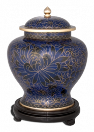 Royal Blue Large Cloisonne Adult Cremation Urn 210 Cu. In.
