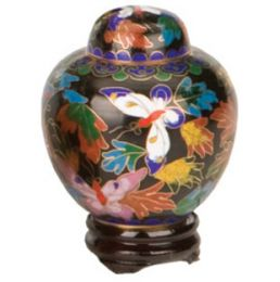 Cloisonne Butterfly Miniature Keepsake Cremation Urn 2.5 Cu In