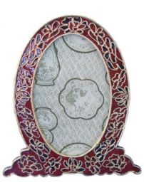 Cloisonne Amber Picture Frame to Matching  Urn