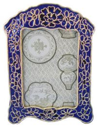 Cloisonne Royal Blue Picture Frame to Matching Urn