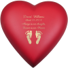 Baby Urn Brass Heart In Scarlet With Hands & Feet