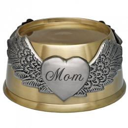 Engraved Memorial Plaque-Round Urn Base with Wings