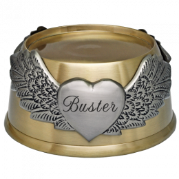 Engraved Pet Plaque- Round Pet Urn Base with Wings