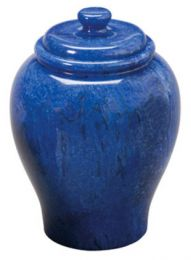 Cobalt Blue Marble Large Adult Cremation Urn