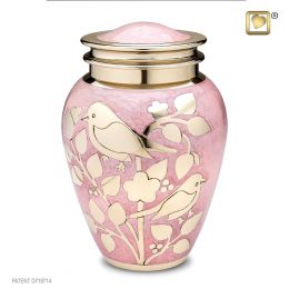 Pink Blessing Birds Brass urn in 225 Cu. In.