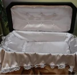 Deluxe Large 32 Inch Black Pet Casket And Silver Interior