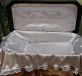 Deluxe Medium Black Pet Casket With Silver Interior 24 Inch