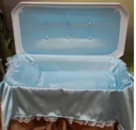 White Deluxe 24 Inch Pet Casket With Deluxe Blue Interior