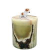 Marble Pet Urn with Dog Figurine Medium Green Onyx