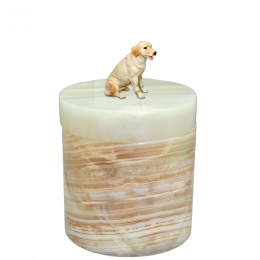 Marble Pet Urn with Figurine Light Green Onyx