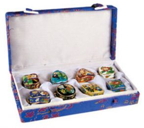 Assorted 8 Pieces Cloisonne Capsule Keepsake Urns