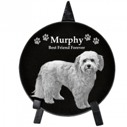 Pet Photo Engraved Black Marble Circle