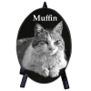 Pet Photo Engraved Black Marble Oval