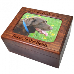 Memory Chest Wooden Box Dog Urn with Photo Window- Large
