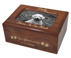 Pet Cremation Wood Memory Chest Wood Box Dog Urn w/Photo Window- Small