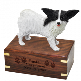 Pet Cremation Rosewood Urn Papillon, Black & White & Brown & White 2 Dogs