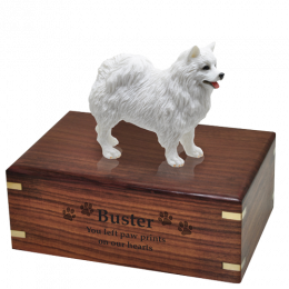Pet Cremation Wood Urn  American Eskimo 4 Sizes Available