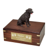 Dog Wood Cremation Urn Chocolate Retriever  4 Sizes