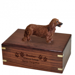 Dog Cremation Wood Urn Dachshund Red Longhair 4 Sizes