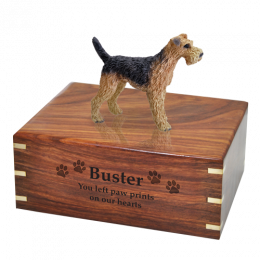 Airedale Dog Wooded Cremation Urn 4 Sizes