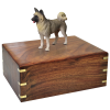 Pet Cremation Wood Urn:  Akita-Gray 4 Sizes Available