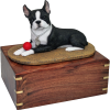 Pet Cremation Rosewood Urn Boston Terrier With Ball
