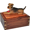 Airedale With A Ball Pet Cremation Urn