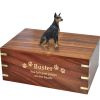Pet Cremation Rosewood Urn Doberman Pinscher Red, Ears-Up