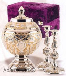 Adult Brass Urn Memorial Set with Candle Sticks and Box