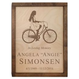Cyclist Wall Mounted Wood Cremation Urn Plaque a