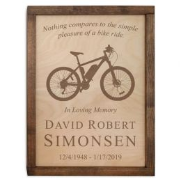 Bicycle Wall Mounted Wood Cremation Urn Plaque 237 Cu In