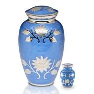 Floral Symphony Brass Urn in Cornflower Blue & Keepsake urn 3 Cu. in.