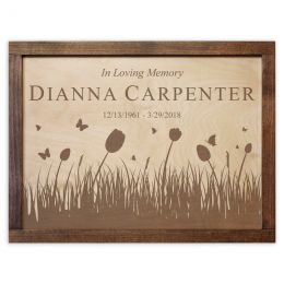 The Butterflies & Tulips Wall Mounted Wood Cremation Urn Plaque